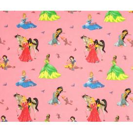 tissu coton disney princesses rose largeur 140cm x 50cm n°2