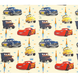 tissu coton disney cars écru largeur 140cm x 50cm