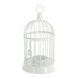 bougeoir cage à oiseaux métal blanc 17x9,5cm