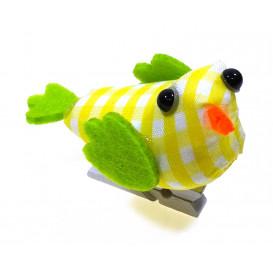 oiseau tissu vichy jaune sur pince 4x6,5cm