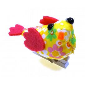 oiseau tissu fleuri jaune sur pince 4x6,5cm