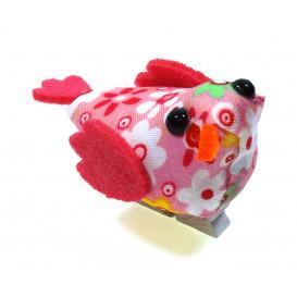 oiseau tissu fleuri rose sur pince 4x6,5cm