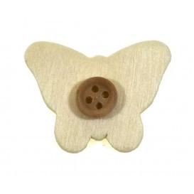 sticker papillon et bouton bois 3cm