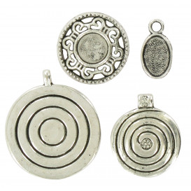 4 charms medaillons argent vieilli 2cm