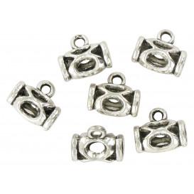 6 perles métal argent vieilli ovale 13mm