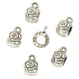 6 perles métal argent vieilli ronde 6mm