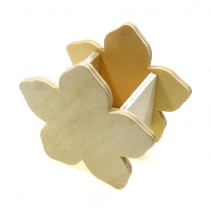 pot à crayons fleur en bois 10cm