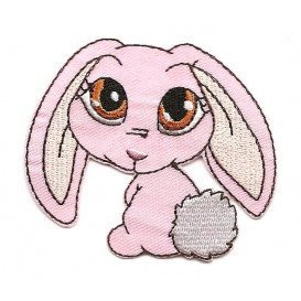 écusson lapin rose nici thermocollant