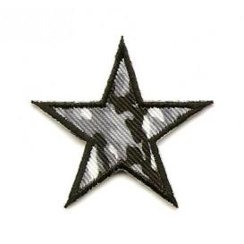 écusson étoile camouflage gris 4cm thermocollant