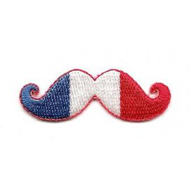 écusson moustache france thermocollant