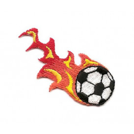 écusson ballon de foot flamme thermocollant