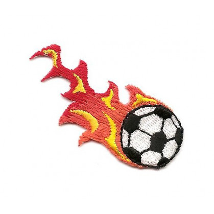 écusson ballon de foot flamme thermocollant