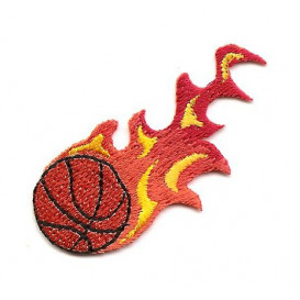 écusson ballon de basket flamme thermocollant