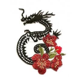 écusson dragon fleurs thermocollant
