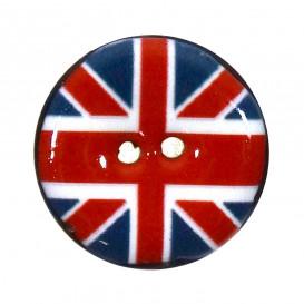 bouton coco laqué imprimé drapeau anglais 25mm