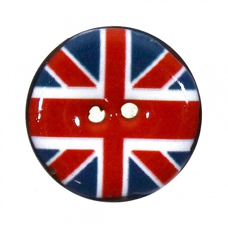 bouton coco laqu imprim drapeau anglais 25mm. Black Bedroom Furniture Sets. Home Design Ideas