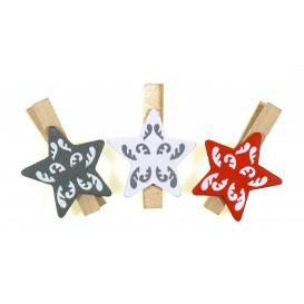 6 pinces à linge étoiles fantaisie 4,5cm