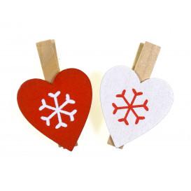 9 pinces à linge bois coeurs rouge et blanc 4,8cm