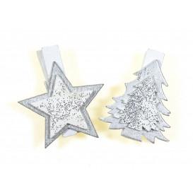 6 pinces à linge bois étoile et sapin pailleté 3,5cm