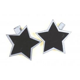 6 pinces à linge ardoise étoile argent 5cm