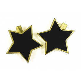 6 pinces à linge ardoise étoile or 5cm