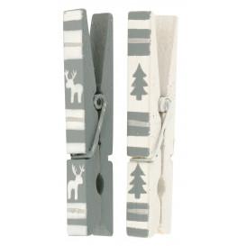 6 pinces à linge gris et blanc 7cm