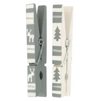 6 pinces linge gris et blanc 7cm. Black Bedroom Furniture Sets. Home Design Ideas