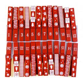 24 pinces à linge rouge calendrier de l'avent 7cm