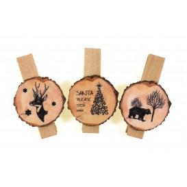 6 pinces à linge tranches de bois noir 3,5cm