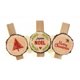 6 pinces à linge tranches de bois couleur 3,5cm