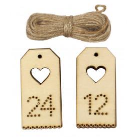 24 tags en bois calendrier de l'avent 3,7x7,5cm
