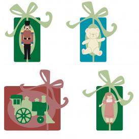 8 formes plates paquet cadeau en bois