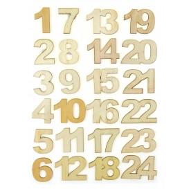 24 stickers chiffres bois brut 2,7cm