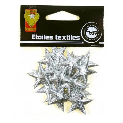 20 étoiles textiles scintillantes argent 2,5cm