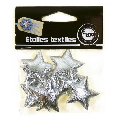 10 étoiles textiles scintillantes argent 3,3cm
