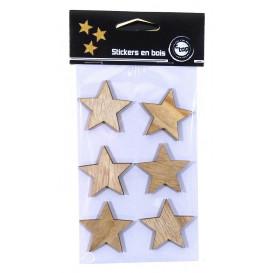 6 stickers étoile bois brut 4cm