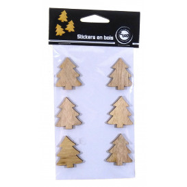 6 stickers sapin bois brut 3,5cm