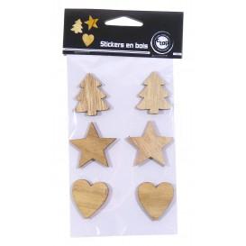 6 stickers motifs assortis bois brut 3 à 4cm