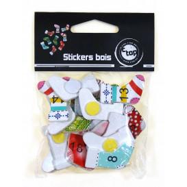 24 stickers chaussettes de noël 2,7cm
