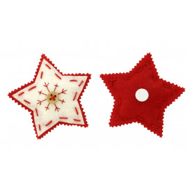 2 stickers étoiles rembourrées en feutrine 6,5cm