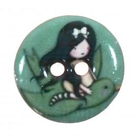 bouton bois laqué gorjuss oiseau 24mm