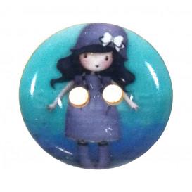 bouton bois laqué gorjuss robe violette 24mm