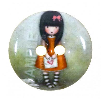 bouton bois laqué gorjuss robe orange 24mm
