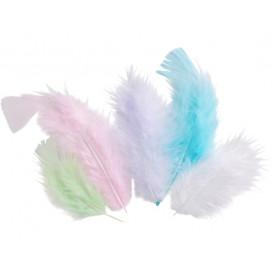 50 plumes d'oiseaux pastel