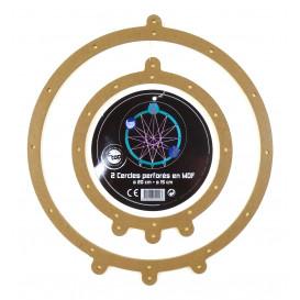 2 cercles perforés en bois médium attrape rêve