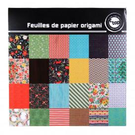 36 feuilles papier origami vintage 15x15cm