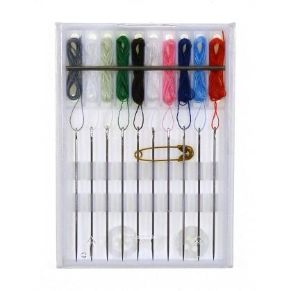 kit d'aiguilles pré-enfilées 10 couleurs
