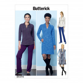 patron haut, gilet, robe et pantalon Butterick B6494