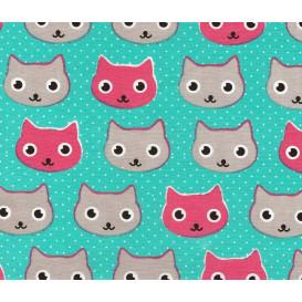 tissu popeline turquoise chat largeur 145cm x 50cm
