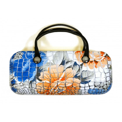 étui couture façon croco blanc fleurs bleues 15,5cm x 7cm